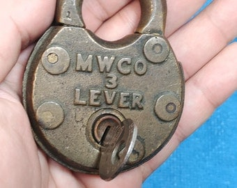Antique Mallory Wheeler & Co. 3 Lever Brass Padlock With Key