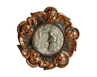 French Art Deco Religious Copper Wall Medallion - The Crucifixion Jesus Christ and Saint Teresa - Angels Decor