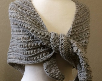 Woman's Knitted Shawl, Hand Knitted Shawl, Beige Handmade Wrap