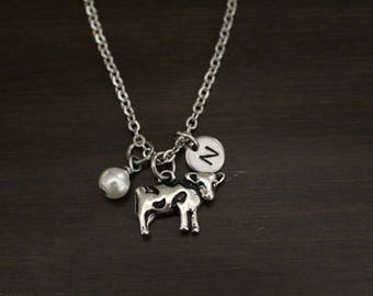 Cow Necklace - Cow Gift - Cow Lover - Animal Lover - Farm Gift - Farmer Gift - I/H&B
