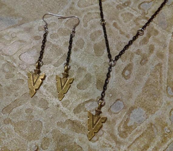 Set Necklace Earrings Antique Bronze Arrow Head Black Chain Stainless Hooks