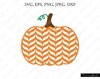 Chevron Pumpkin SVG, Pumpkin Svg, Halloween Svg, Pumpkin Clipart, Thanksgiving SVG, Cricut, Silhouette Cut Files