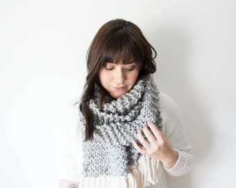 Knitted Scarf Chunky Wool in *Fossil* - The 'Wonderland' Large Oversized Grey Scarf