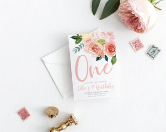 1st Birthday Invitation, Girl Floral Garden Party Pink Printable Digital DIY Invite, Floral Birthday, Girls Birthday Invite - Millie Suite