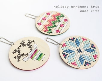 Holiday ornament trio - Modern DIY wood cross stitch kits - Beginners cross stitch kits - Christmas ornament kits