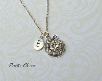 Swarovski Crystal Seashell and Personalized Initial Charm Necklace, Six Colours
