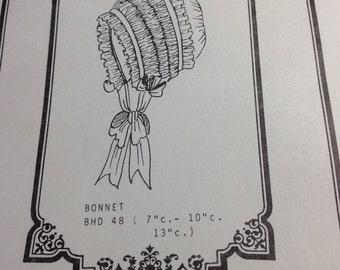 Heirloom doll bonnet pattern, ruffled doll bonnet pattern, Brown House Dolls pattern, gathered doll bonnet, vintage doll pattern