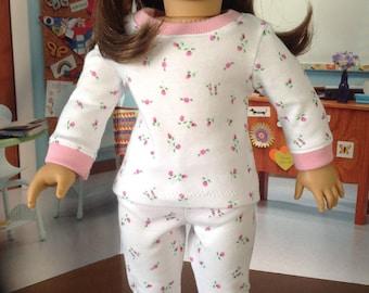 Rosebud pajamas, cotton knit pajamas, long sleeve pajamas, long pant pajamas, velcro closure pajamas, ribbing cuffs and neckline,