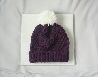Purple Handmade Crocheted Pompom Beanie Hat