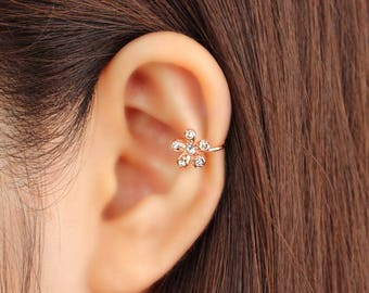 Ear cuff no piercing, non pierced, flower ear cuff, ear jacket, ear climber, CZ ear cuff, ear crawler, no pierce, CZ ear climber, rose gold