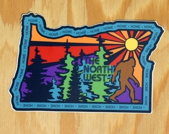 Oregon Decal -- Handdrawn Oregon Art -- The North West -- Northwest Sasquatch -- Handdrawn NW Sticker -- Oregon Home -- OR State Decal