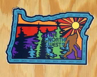 Oregon Decal -- Handdrawn Oregon Art -- The North West -- Northwest Sasquatch -- Handdrawn NW Sticker -- Oregon Home -- OR State Decal
