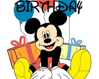 Happy Birthday Card, Mickey Mouse Card, Happy Birthday