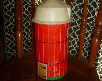 Vintage Fisher Price Farm Toy Part Repurpose Prop Display Paper Tin Toy Silo by VintageReinvented