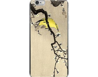 Japanese bird iPhone case, Asian woodblock print, great for yellow bird lovers, nature lovers, and Japanese print lovers!