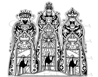 3 Kings -3 Wise Men - Magi - Christmas SVG / JPEG / PNG /pdf / Silhouette Studio -Cricut Design Space - Commercial Use - Adult Coloring Page