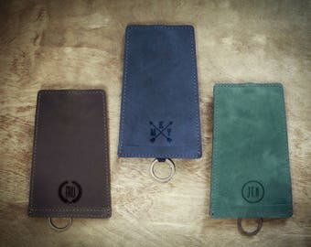 Personalized key holder, Leather key pouch, Genuine leather case, Originally designed accessory, Perfect wedding gift, Individual engraving