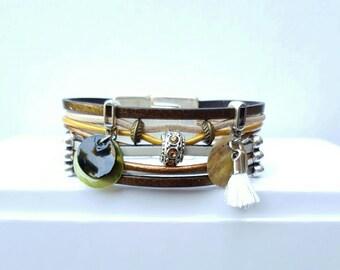 """Multicolor leather Cuff Bracelet """"Klimt 3"""""""