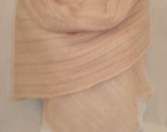 Lovely soft handknitted scarf in soft pink color. Lace pattern.