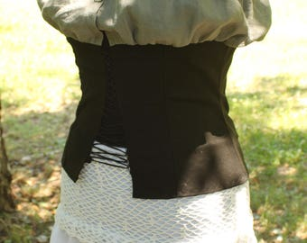 Women's Pirate corset with blouse, steampunk corset , Victorian  corset,  Rustic  black corset pirates clothing victorian clothes