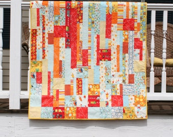 Falling Squares Modern Baby Quilt