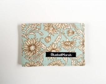 Travel Card Holder, Floral, light blue