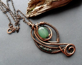 Green Aventurine Wire wrapped necklace, jewelry, Copper wire necklace, Wire necklace, Heady wire wrap, Woven wire pendant, Gemstone necklace