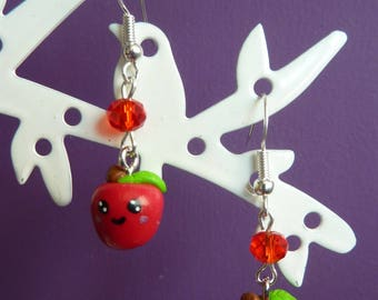Earrings in 925 sterling silver Red Apple face kawaii polymer clay fimo and Red Swarovski bead