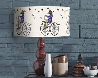 Zebra on Bicycle - lampshade Pendant lamp shade drum lampshade drum lamp shade table lamp jungle print zebra print kids room boys room girls