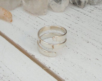 Adjustable spiral ring - sterling silver - bohemian boho bridesmaids gifts for her