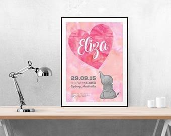 Birth Announcement | Wall Art | Nursery Art | Printable | Nursery | Baby | Baby Announcement | Poster | Custom | Pink