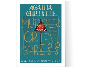 Murder On The Orient Express Illustration / Agatha Christie / Hercule Poirot / Book Cover / Printable Art / Instant Download / 2JPEG Files