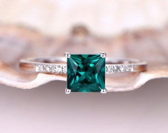 Emerald Engagement Ring 5.5mm Princess Cut Emerald Ring Gemstone Ring Diamond Wedding Band Promise Ring 14K White Gold Solitaire Ring