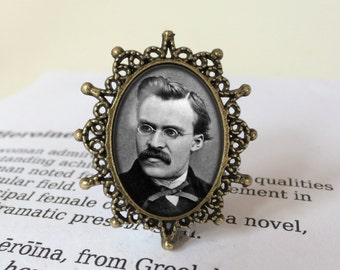 Nietzsche Brooch - Friedrich Nietzsche Pin, Übermensch Gift, Philosophy Jewellery, Nietzsche Jewelry, Nihilism Brooch, Nietzsche Gift
