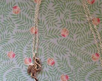 Necklace flamingo silver ,Chain pendant