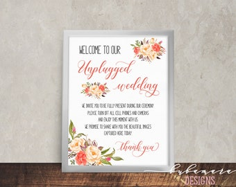 Unplugged Wedding Sign Bohemian Peach Pink Coral Peony Flowers Printable Wedding Reception Boho Digital Unplugged Wedding Poster - WS040