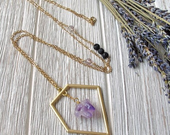 Essential Oil Diffuser Necklace, Aromatherapy Jewelry, Amethyst Necklace, Lava Stone Jewelry,  Aromatherapy Necklace, FoxAndBearEssentials