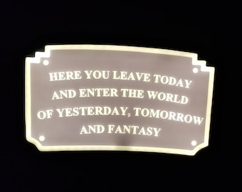 LED Lit Main Street Entranceway Welcome Plaque DL Inspired Sign - (Disney Prop Inspired Replica)