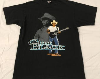 Vintage Clint Black The Hard Way 1992 Single Stitch Tour Shirt Fruit of the Loom size Large
