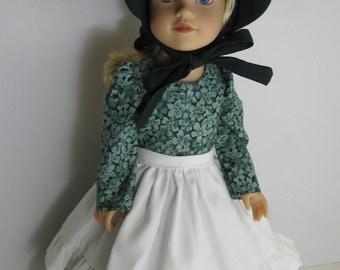 Journey Girl Green Prairie Dress, Sunbonnet, and White Apron