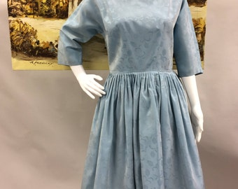1950s Light Blue 3/4 Length Sleeve with Full Skirt Damask | Formal | Evening | Party | Graduation | Extra Small to Small | Size 4-6