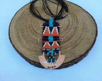 Native american jewelry, Native american necklace, Native american beadwork, Native american beaded jewelry, Bohemian macrame necklace