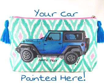 Personalized Car Purse, Custom Jeep, Jeep Wrangler, Car Lover, Car Gift, Girlfriend Present, Jeep Life, Jeep Girl, Friend Gift, Car Portrait
