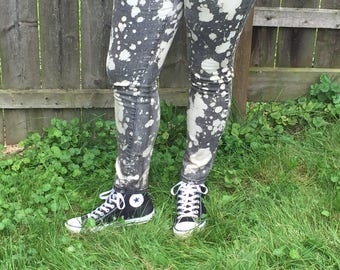 Distressed Bleached Black Jeans