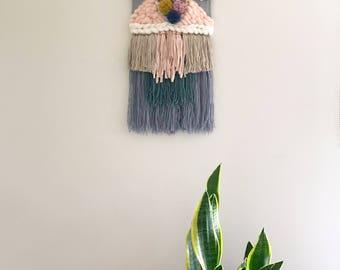 Pom pom skies | Woven Wall Hanging | Weaving | Tapestry | Wall Art | Fibre Art | Handwoven | Home Decor