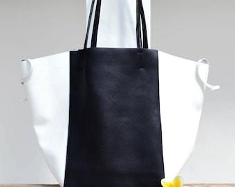 "Large bag tote bag leather black and white ""KEMBOJA"""