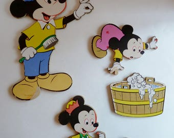 Vintage Disney Nursery wall plaques/Mickey and Minnie Mouse cardboard wall plaques from 1970's/5 piece/baby mickey minnie/rubber duckie