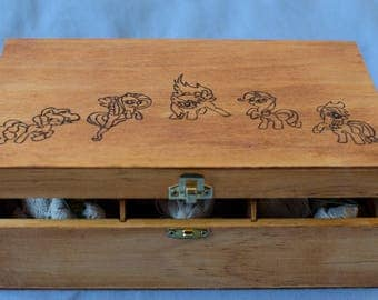 "Tea box woodburned ""My little pony"" / / My little pony Tea box"