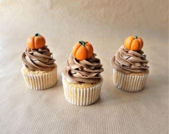 12 fondant pumpkin cupcake toppers fondant halloween topper fondant thanksgiving topper harvest decor - Harvest Decor