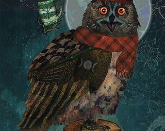 BUBO BUBO 8x11 Fine Art Print // Owl Illustration, Owl Art, Owl Print, Whimsical Art, Moon, Nature, Animals, Birds, Funny, Quirky, Fantasy
